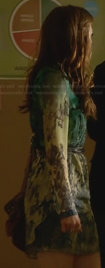 Emery's green printed ombre dress on Star-Crossed