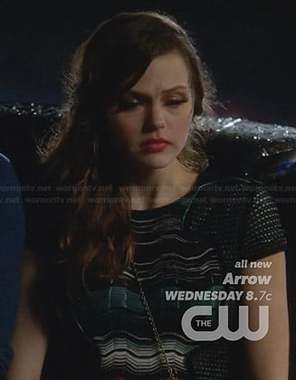 Emery's green striped panel dress on Star-Crossed