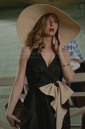 Emily's black two-tone ruffle front dress on Revenge