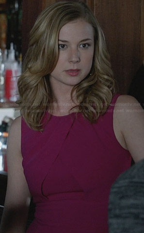 Emily's pink crossover front dress on Revenge