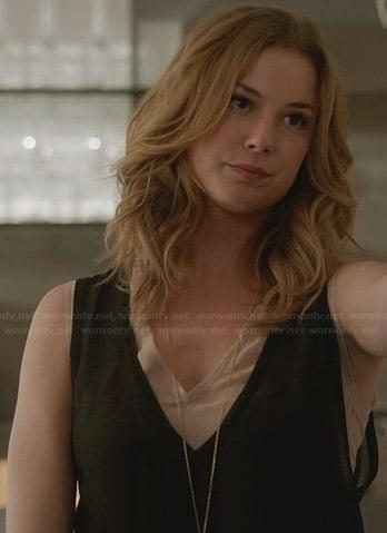 Emily's black and beige layered v-neck top on Revenge