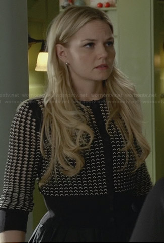 Emma's black and white perforated cardigan on Once Upon a Time