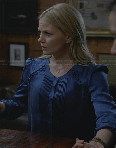 Emma's blue satin pintuck blouse on Once Upon a Time