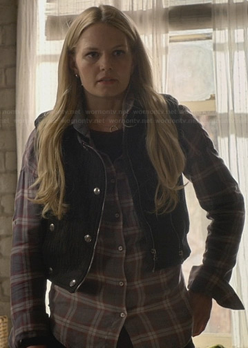 Emma's grey plaid shirt and black vest on Once Upon a Time