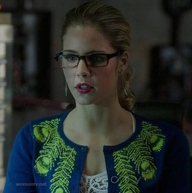 Felicity's blue cardigan with peacock feathers on Arrow