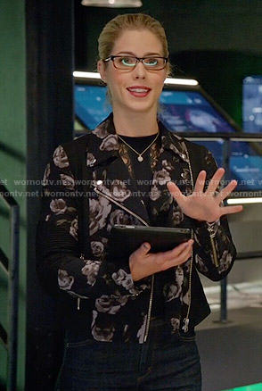 Felicity's rose print jacket on Arrow