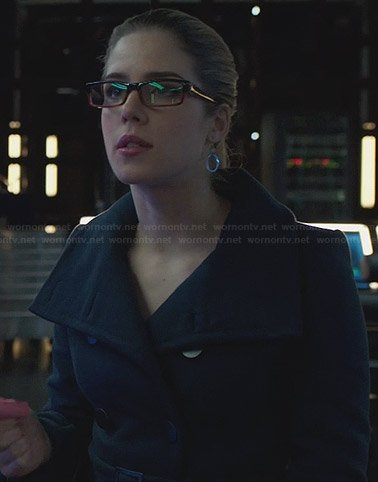 Felicity's navy belted coat on Arrow