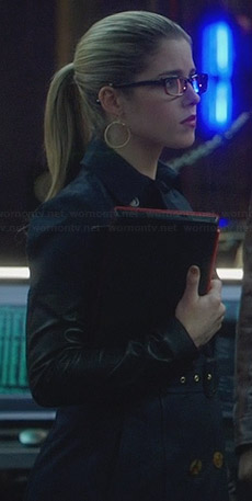 Felicity's navy trench coat with leather sleeves on Arrow