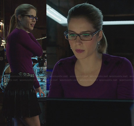 Felicity's purple sweater with shoulder bows on Arrow