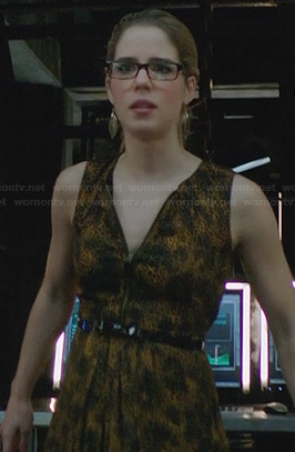 Felicity's yellow zip front animal print dress on Arrow
