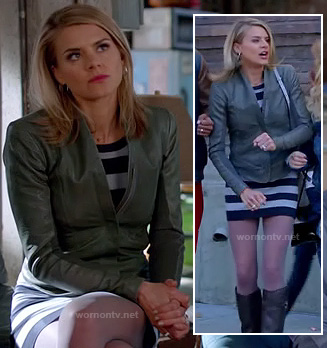 Jane's leather jacket and navy striped dress on Happy endings