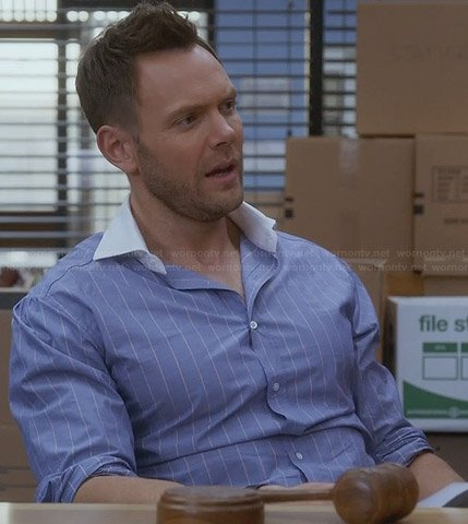 Jeff's blue striped shirt with white collar on Community
