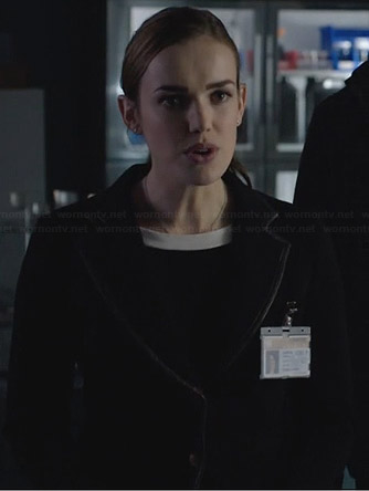 Jemma's black blazer with leather trim on Agents of SHIELD