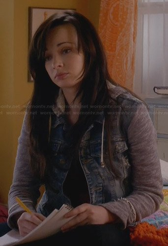 Jenna's denim jacket with grey sleeves and hood on Awkward