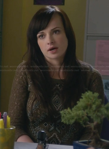 Jenna's green lace patterned front top on Awkward