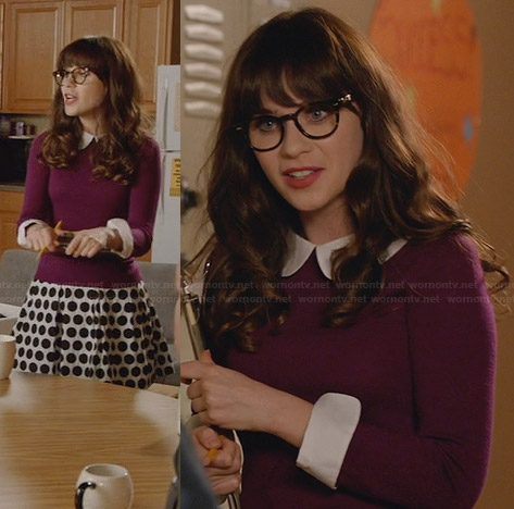 Jess's purple peter pan collar sweater and polka dot skirt on New Girl