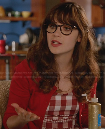 Jess's red gingham check dress with bows on New Girl