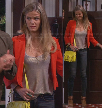 Jules's orange blazer, yellow bag and tan ankle boots on Friends with Better Lives