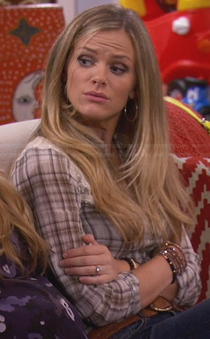 Jules's plaid shirt with lace shoulders on Friends with Better Lives