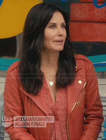 Jules's red leather jacket on Cougar Town