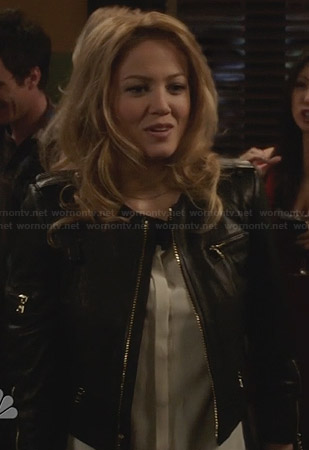 Julia's black cropped leather jacket on Parenthood