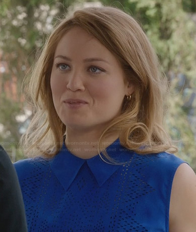 Julia's blue perforated collared top on Parenthood