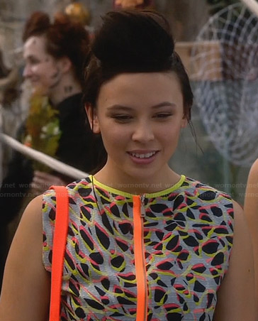 Julia's printed zip-front dress with neon trim on Star-Crossed