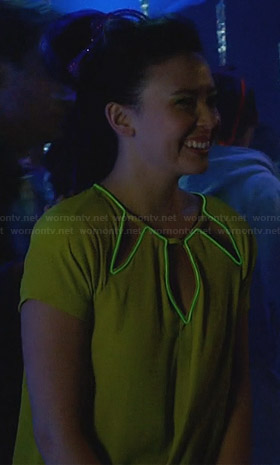 Julia's yellow cutout dress with glow trim on Star-Crossed