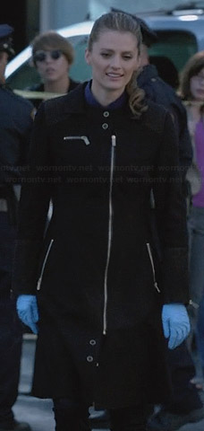 Kate's black zip front coat on Castle