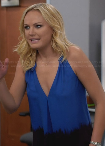 Kate's blue dip dyed tank top on Trophy Wife