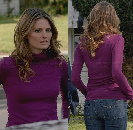 Kate's purple turtleneck top and flap pocket jeans on Castle