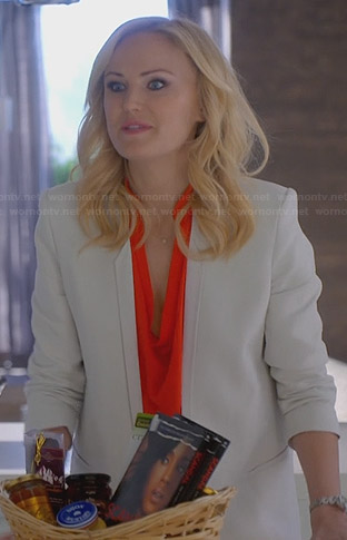 Kate's orange cowl neck blouse and white blazer on Trophy Wife
