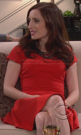 Kate's red fit and flare dress on Friends with Better Lives