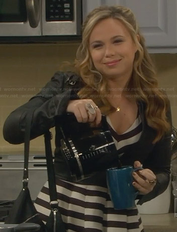 Kristin's striped v-neck dress and cropped leather jacket on Last Man Standing