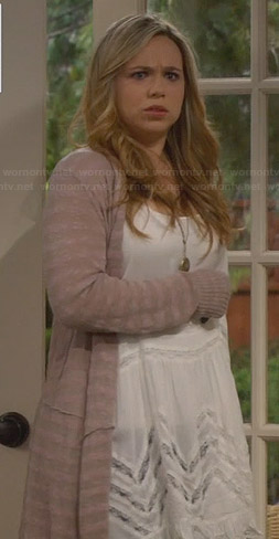 Kristin's white lace inset dress and long striped cardigan on Last Man Standing