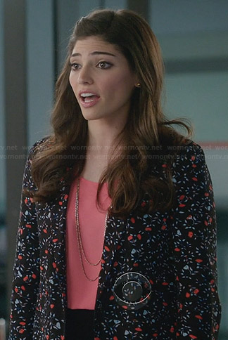 Lauren's floral blazer on The Crazy Ones