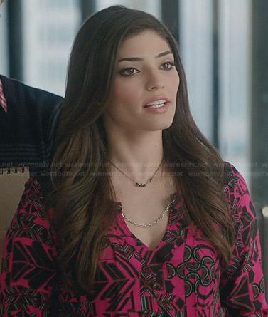 Lauren's pink geometric print blouse on The Crazy Ones