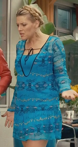 Laurie's blue embroidered tie-neck dress on Cougar Town