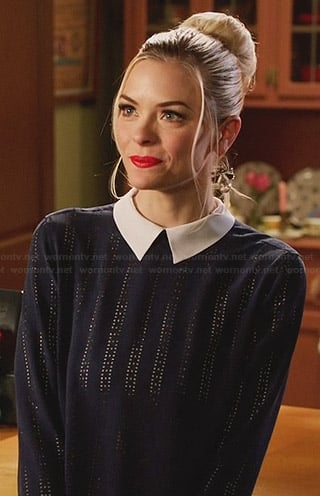 Lemon's blue laser cut top with white collar on Hart of Dixie