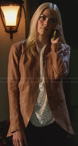 Lemon's curved hem leather jacket on Hart of Dixie
