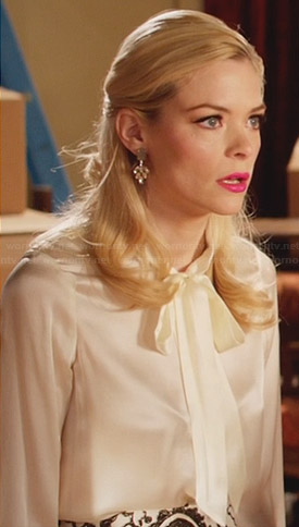 Lemon's white neck tie blouse and paisley skirt on Hart of Dixie