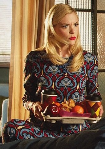 Lemon's blue and red patterned top and matching trousers on Hart of Dixie