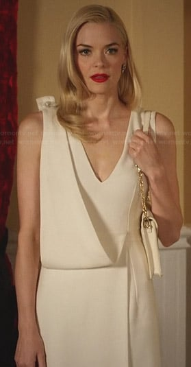 Lemon's white draped v-neck dress on Hart of Dixie