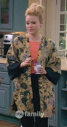 Lennox's yellow floral kimono on Melissa and Joey