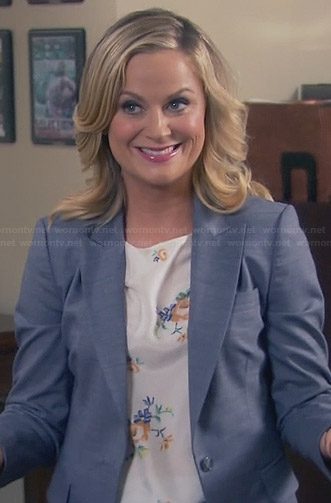 Leslie's cream floral top on Parks and Recreation