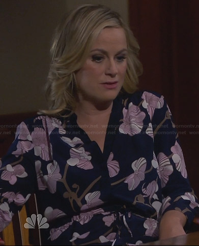 Leslie's navy blue and pink orchid print dress on Parks and Recreation