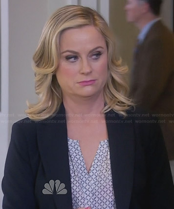 Leslie's white printed split neck blouse on Parks and Recreation