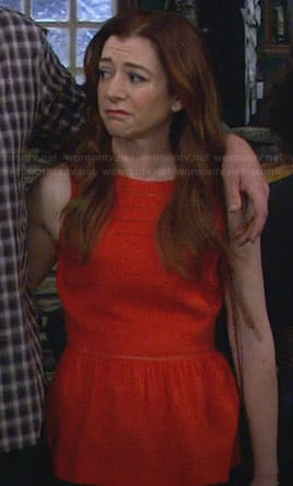 Lily's red peplum top on How I Met Your Mother