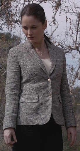Lisbon's grey tweed snap-button blazer on The Mentalist