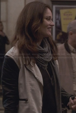 Lisbon's white jacket with black leather sleeves on The Mentalist